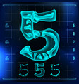 5 number five roentgen x-ray font light vector image vector image