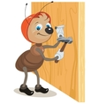 Ant builder hammers a nail hammered into a wooden vector image