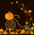 autumn background with vintage bicycle pumpkin vector image vector image