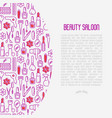 beauty saloon concept with thin line icons vector image