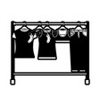 black sections silhouette of female clothes rack vector image
