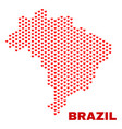 brazil map - mosaic of love hearts vector image vector image