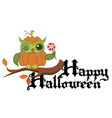 cartoon logo halloween orange pumpkin owl flat vector image vector image