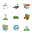 City public buildings icons set cartoon style vector image vector image
