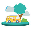 colorful school bus in the city with clouds and vector image vector image
