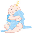 Cute Baby Boy Hugs Blue Blanket vector image vector image