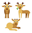 cute baby deer that lies and eats grass vector image vector image