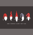 cute gnomes in hats christmas card vector image vector image