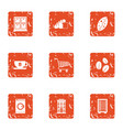 espresso coffee icons set grunge style vector image vector image