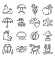 Fall season line art thin and simply icons set vector image vector image