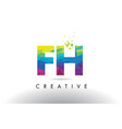 fh f h colorful letter origami triangles design vector image vector image