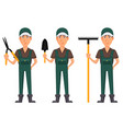 gardener man cartoon character in uniform vector image vector image