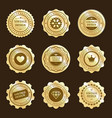 gold stickers with vintage design labels vector image