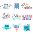 hello summer june july doodle handdrawn vector image vector image