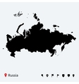High detailed map of Russia with navigation pins vector image