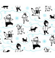 holiday winter skiing animals pattern vector image vector image