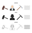 judge wooden hammer barbed wire pickaxe prison vector image vector image