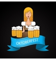 Linear icon with cute Bavarian waitress dressed in vector image vector image