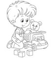 little boy with a toy truck vector image vector image