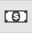 money icon in flat style dollar on isolated vector image vector image