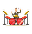 musician man wearing a classic suit playing drums vector image