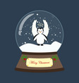 penguin in christmas costume in snowball vector image vector image