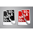 Photo discounts torn in half vector image vector image