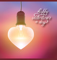 realistic hanging lightbulb romantic poster vector image vector image