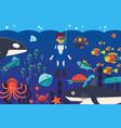 sea activities diving in ocean meeting vector image vector image