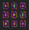 set colourful geometric frames vector image