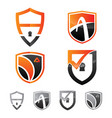 set logo security shield emblem vector image vector image