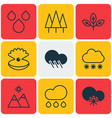 set of 9 world icons includes water drops vector image