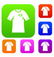 shirt with flag of brazil sign set color vector image vector image