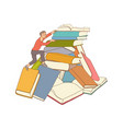 sketch man climbing books pile vector image