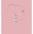 sketch of girls head with earring in his ear vector image vector image