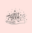 tattooed hand yoga meditation art wild moonchild vector image vector image