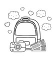 travel bag with camera and tickets vector image vector image