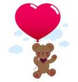 valentine teddy bear with balloon vector image vector image