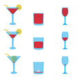 various drinks full and empty icons set eps10 vector image vector image