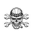 vintage monochrome builder skull vector image vector image