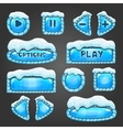 Winter light blue buttons with snow vector image vector image