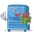 with gift mailbox character cartoon style vector image vector image