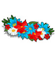 wreath of bright summer flowers isolated on white vector image vector image