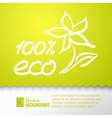 Green background and eco 100 sticker vector image