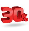 30 percent digits vector image