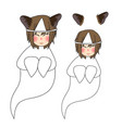 cat ears girl ghost smiling vector image