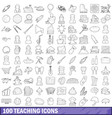 100 teaching icons set outline style vector image