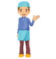 A Muslim boy waving his left hand vector image vector image