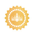 ancient crown on royal quality mark of gold color vector image vector image