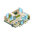 bank isometric modern building interior office vector image vector image